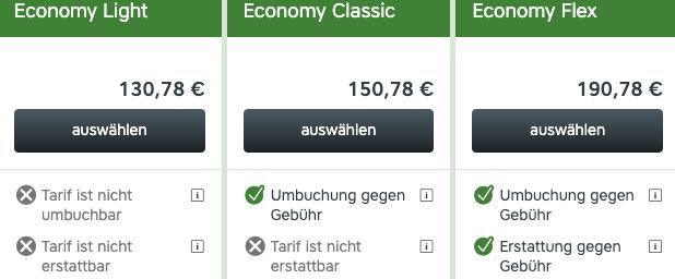 Austrian Airlines Tarife Umbuchung _ Erstattung