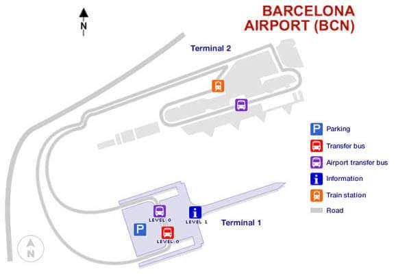 Barcelona Flughafen Terminal 1 & 2 Karte