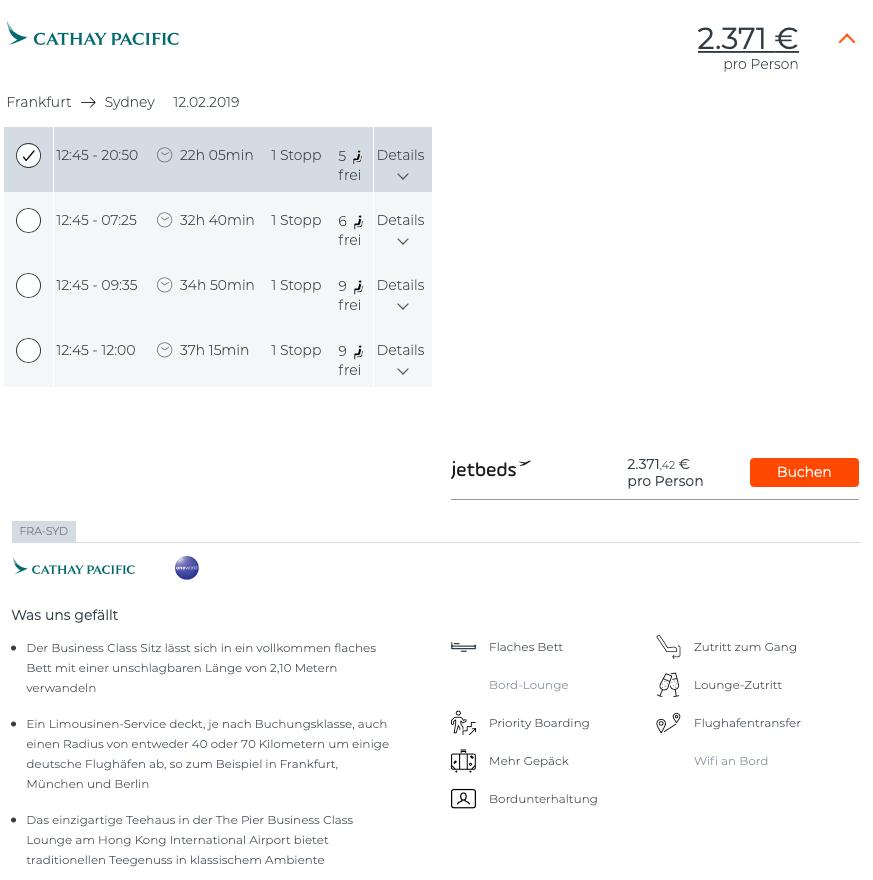 Business Class Flüge nach Australien