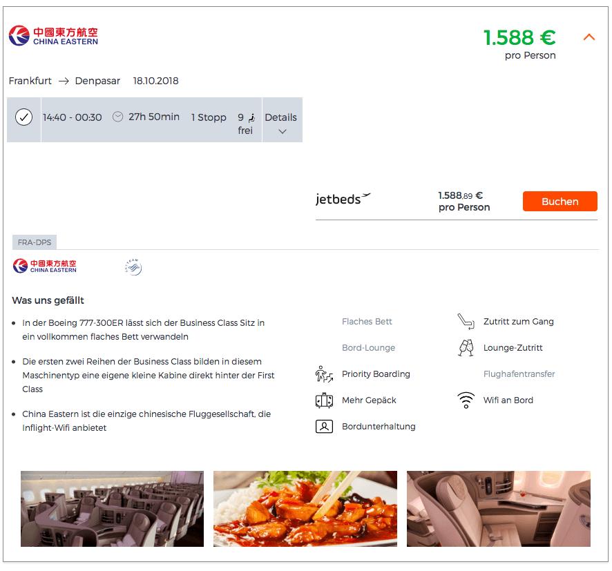 Business Class Flüge nach Bali - Jetbeds.com Angebot