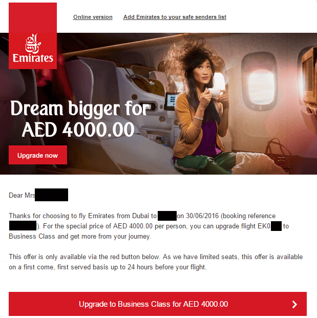 Emirates Upgrade Angebot