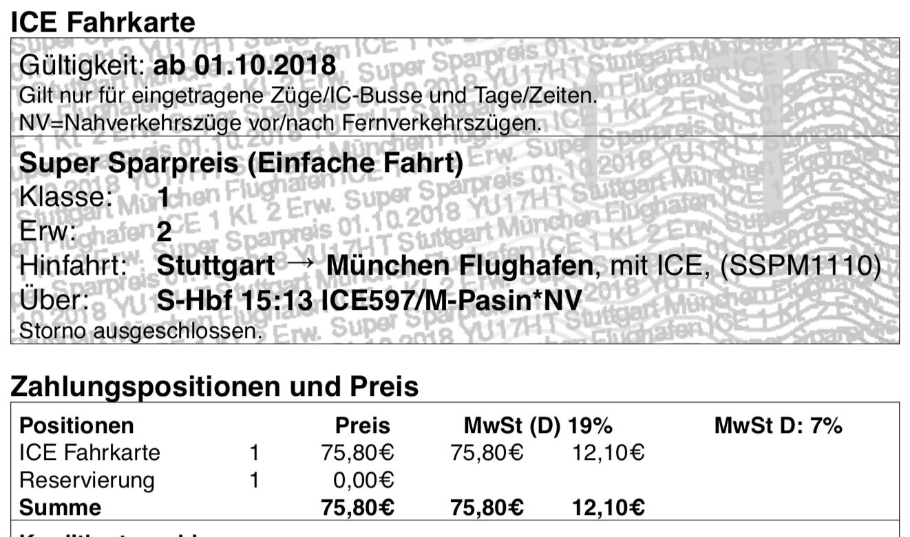 ICE Fahrkarte 1. Klasse München Flughafen