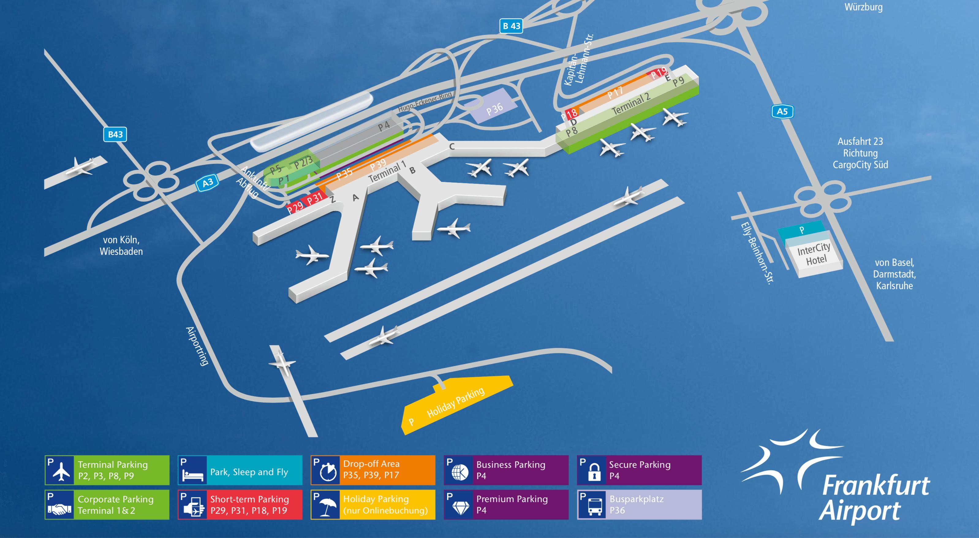 Parken am Flughafen Frankfurt Parkplan