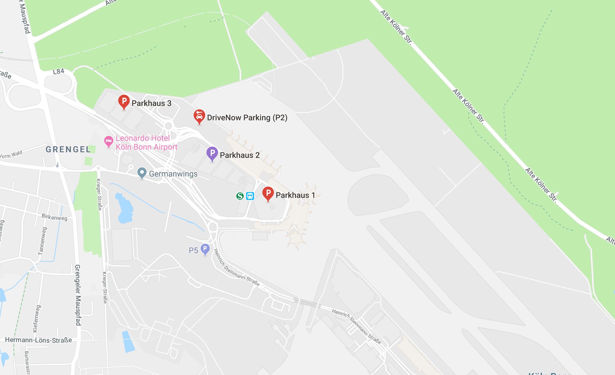 Parken am Flughafen Köln Bonn Parkhaus Lage Karte