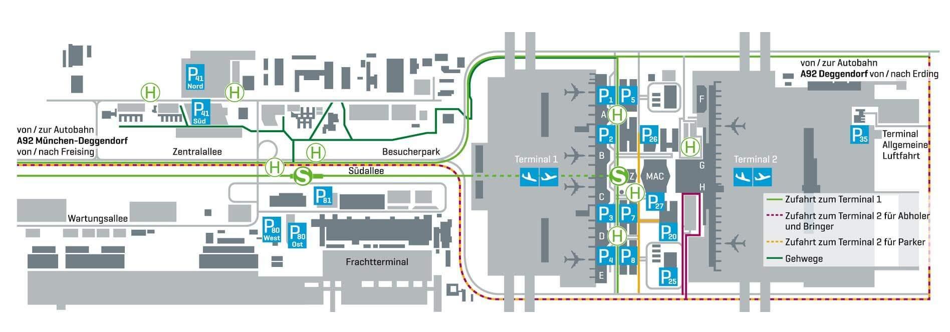Parken am Flughafen München Karte
