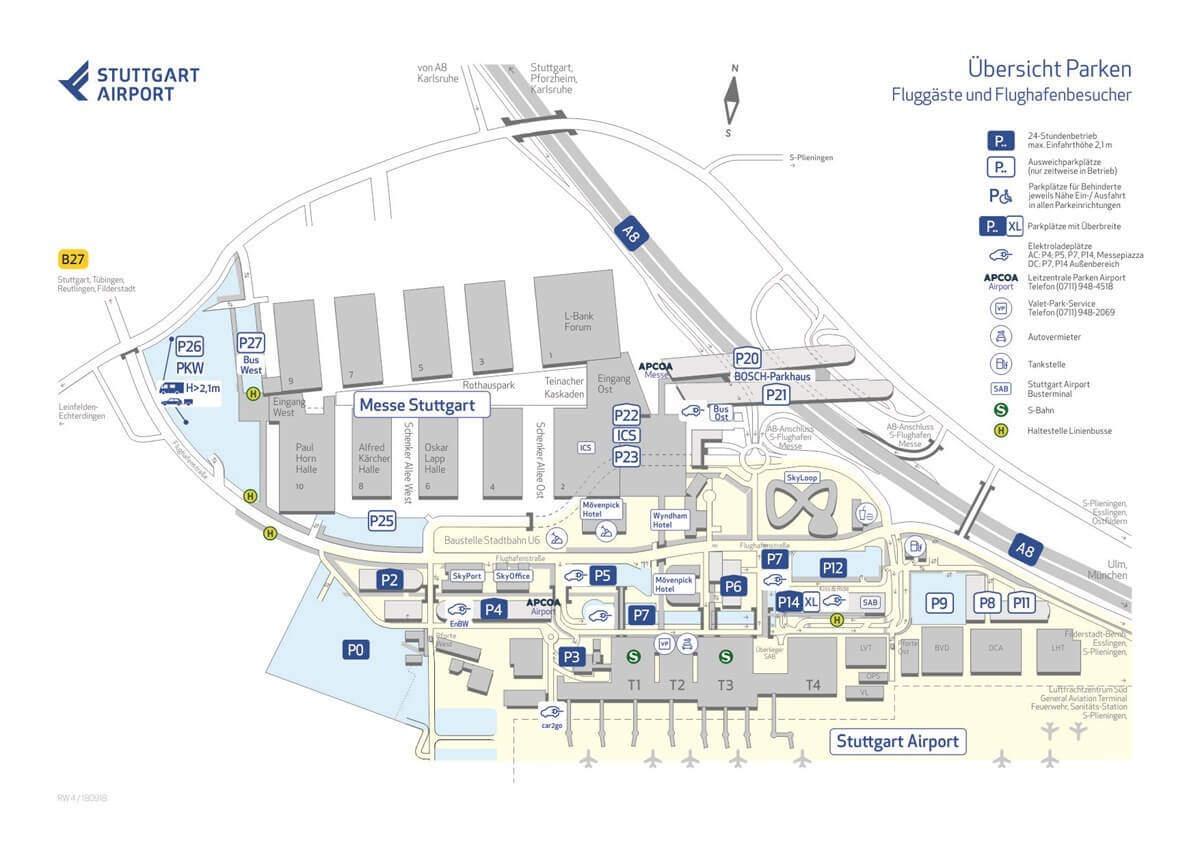 Parken am Flughafen Suttgart Parkhäuser Karte