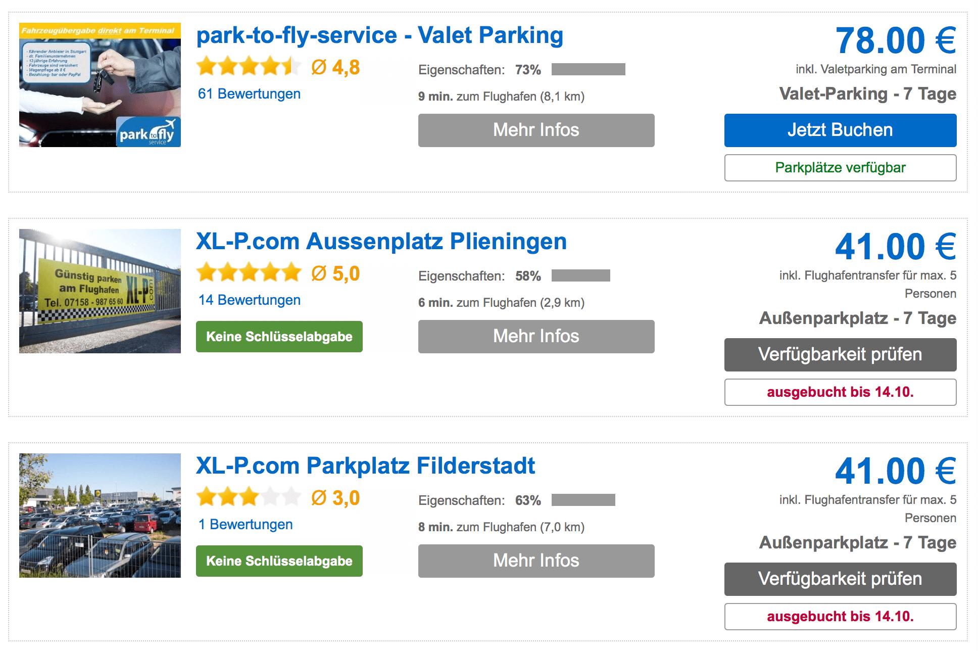 Parkhausvergleich Flughafen Stuttgart