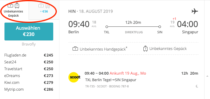 Scoot nach Singapur von Berlin Tegel