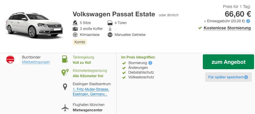VW Passat Mietwagen zum Flughafen