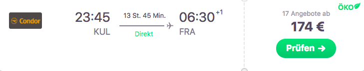 Condor Angebot Kuala Lumpur nach Frankfurt