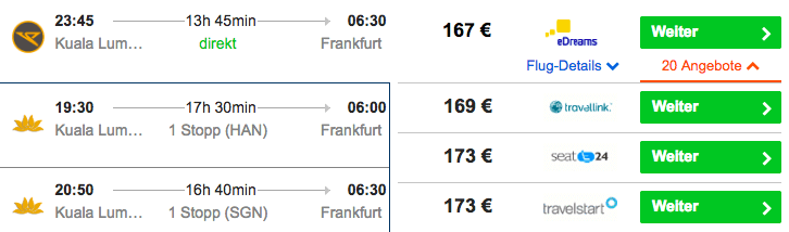 Condor Kuala Lumpur Frankfurt 167€
