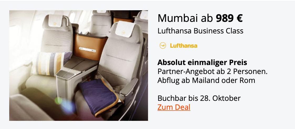 Lufthansa Business Class Mumbai Okt.18