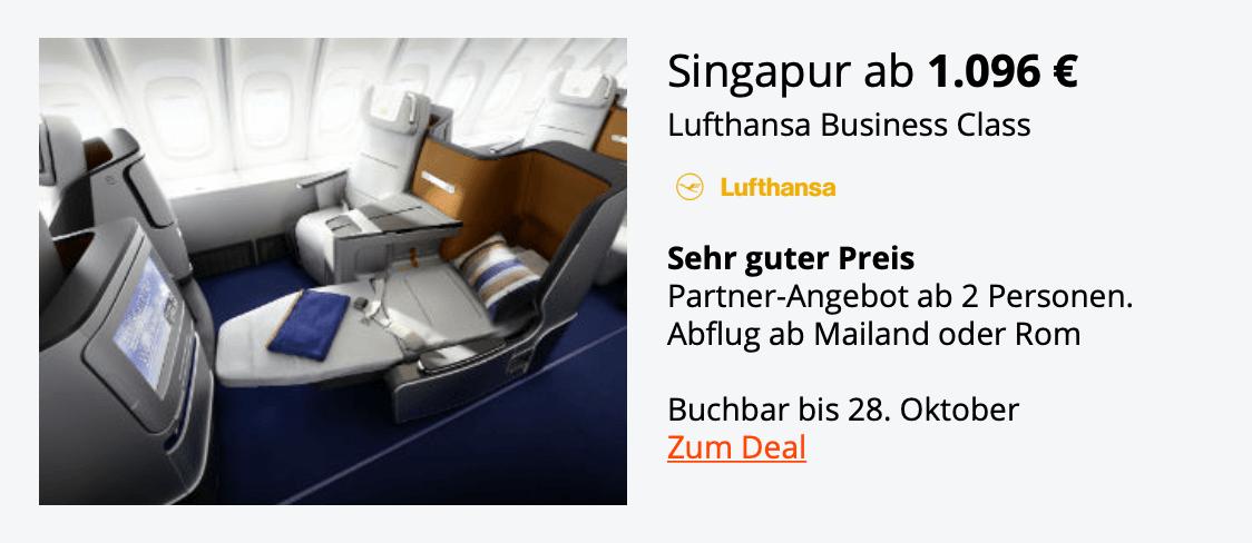 Lufthansa Business Class Singapur Okt.18
