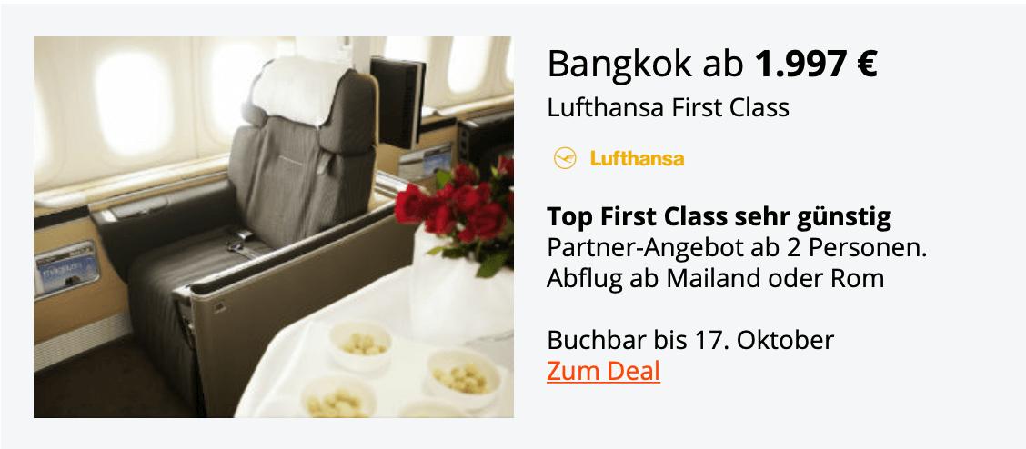Lufthansa First Class Bangkok Okt.18