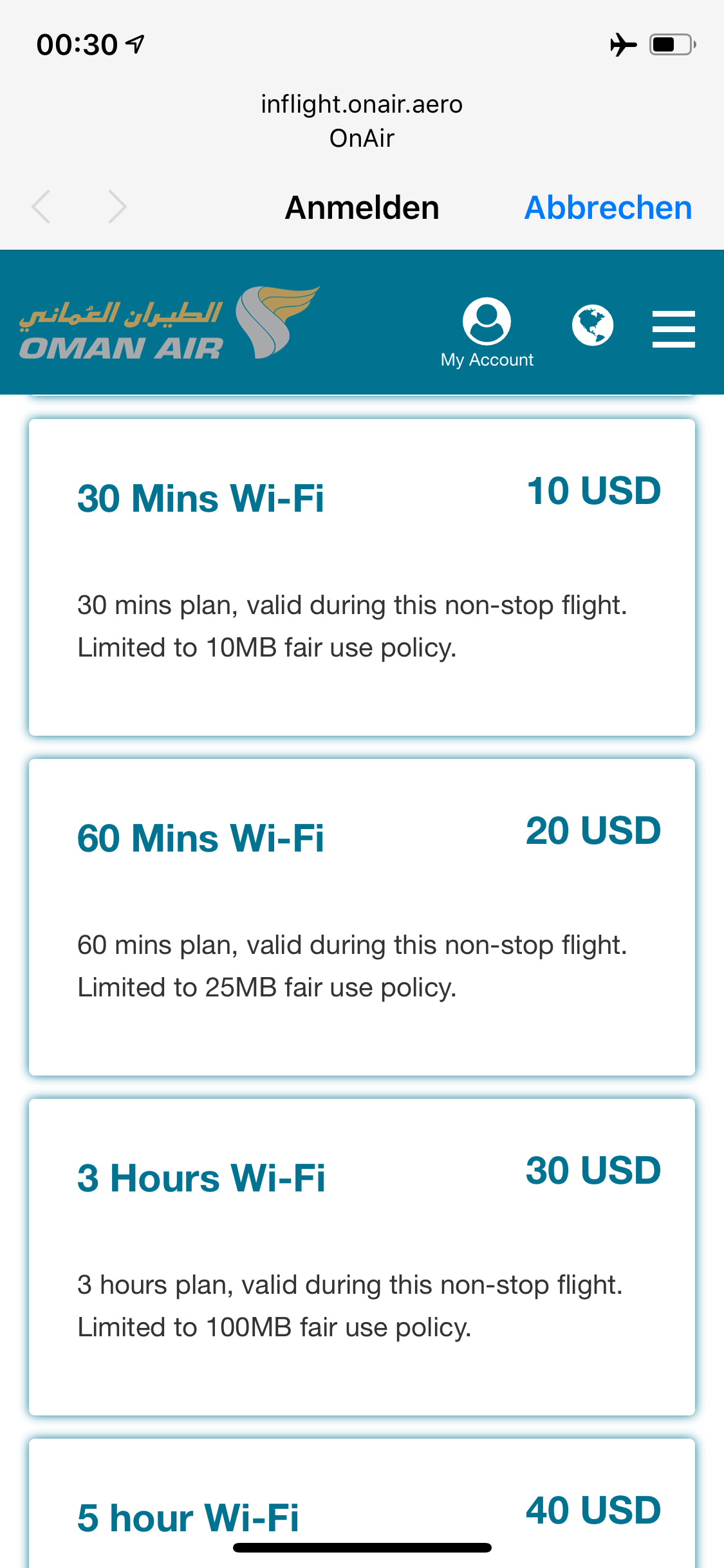 Oman Air OnBoard WiFi