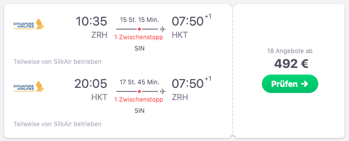 Singapore Airlines Phuket März 19