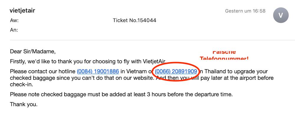 VietJet Air Mailverlauf