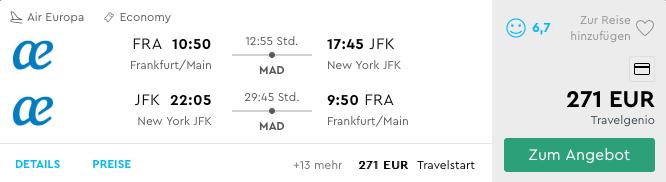 Air Europa FRA-JFK Sommer 2019