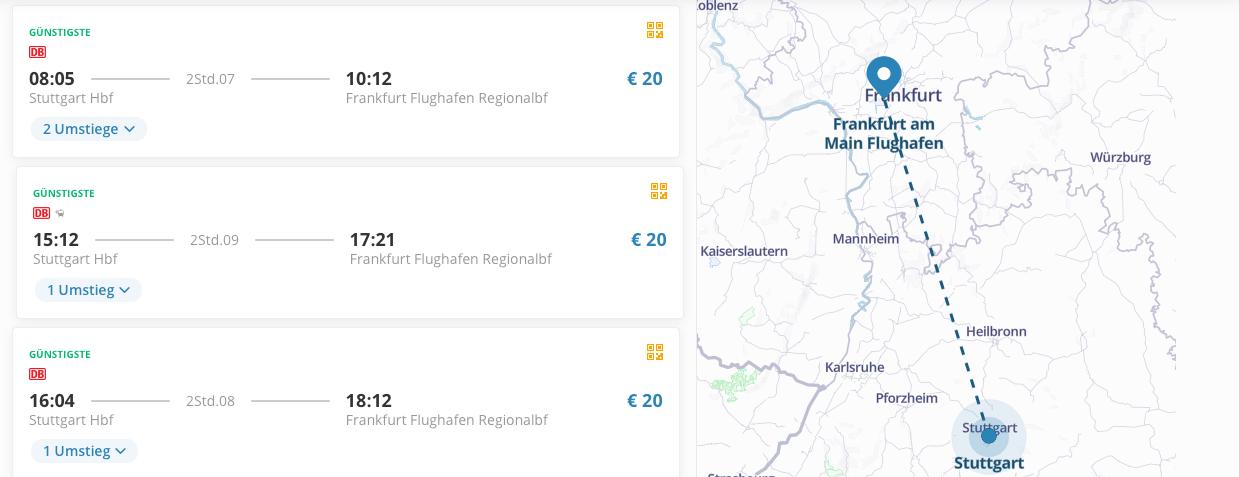 GoEuro DB Flughafentransfer Preise