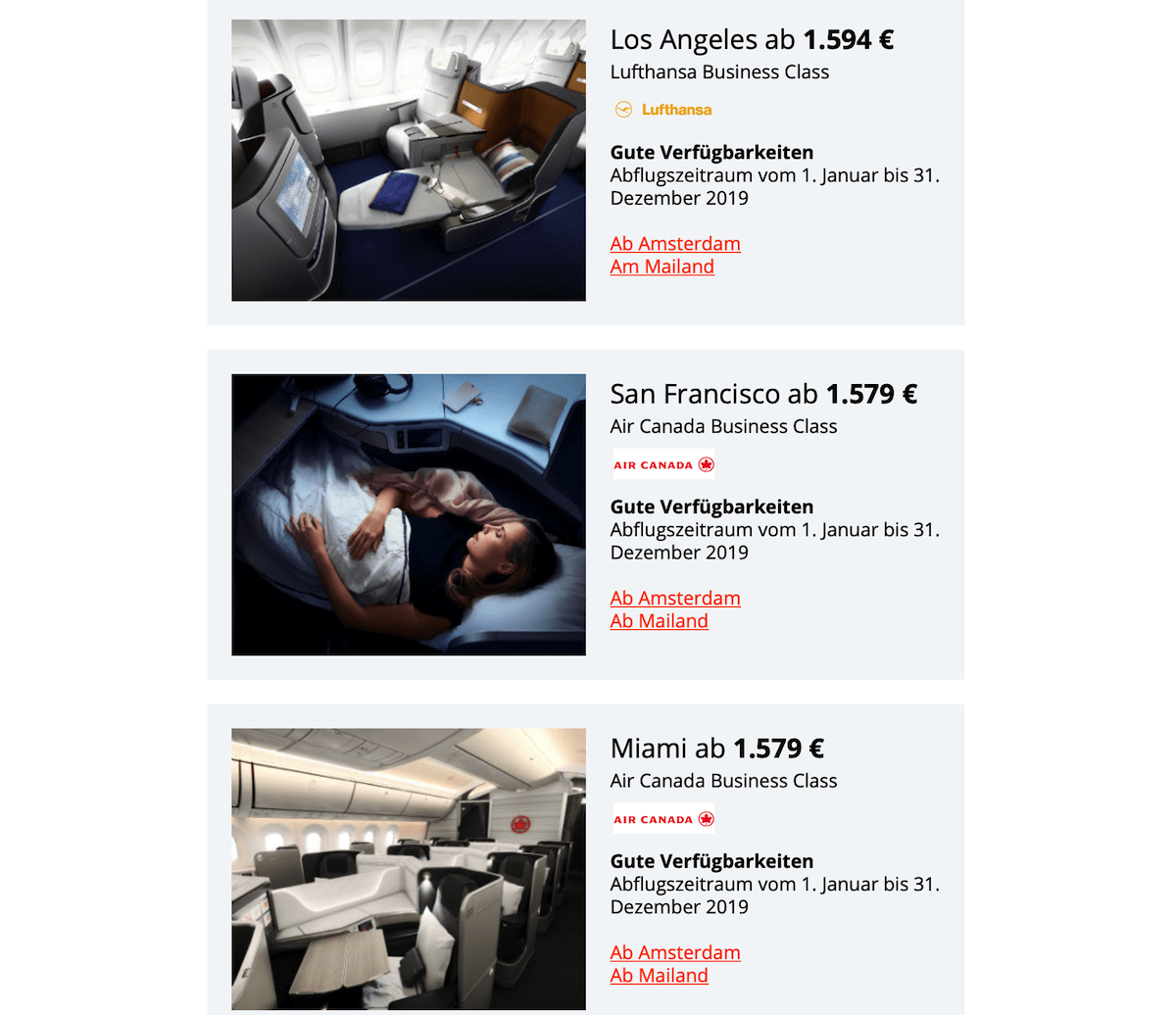 Jetbeds Angebote Lufthansa & Air Canada Star Alliance Sale 18