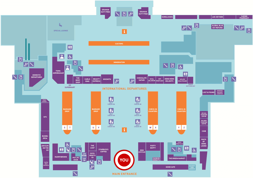 KLIA2 Departure Hall Flughafen Kuala Lumpur Karte