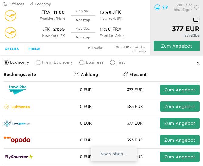 Lufthansa FRA-JFK Return 377€