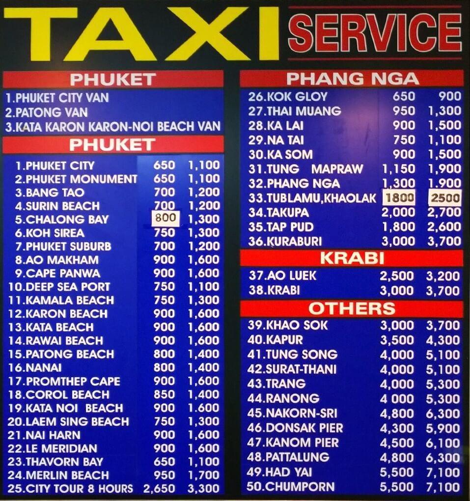 Phuket Flughafen Taxipreise