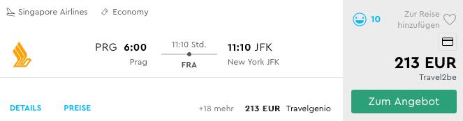 Singapore Airlines Prag - New York 213 € One Way