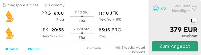 Singapore Airlines Prag - New York 379€