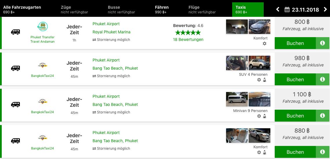 Taxi Flughafen Phuket online buchen