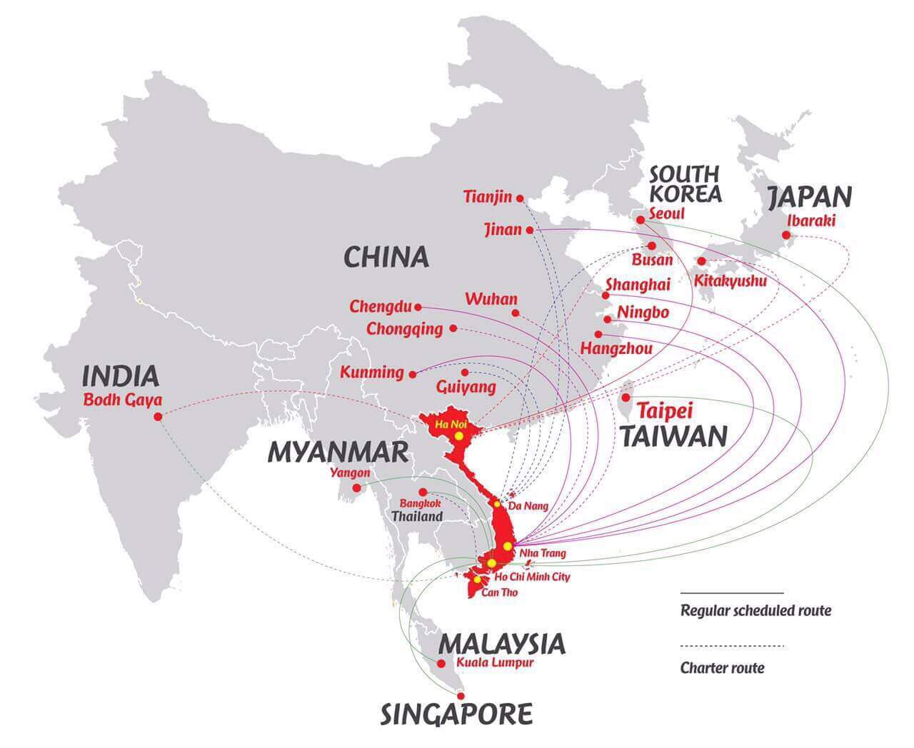 VietJet Flugrouten Asien