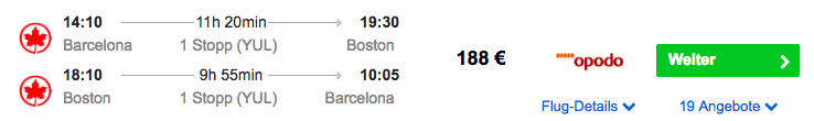 Billige Flüge nach Boston - Boston - Barcelona