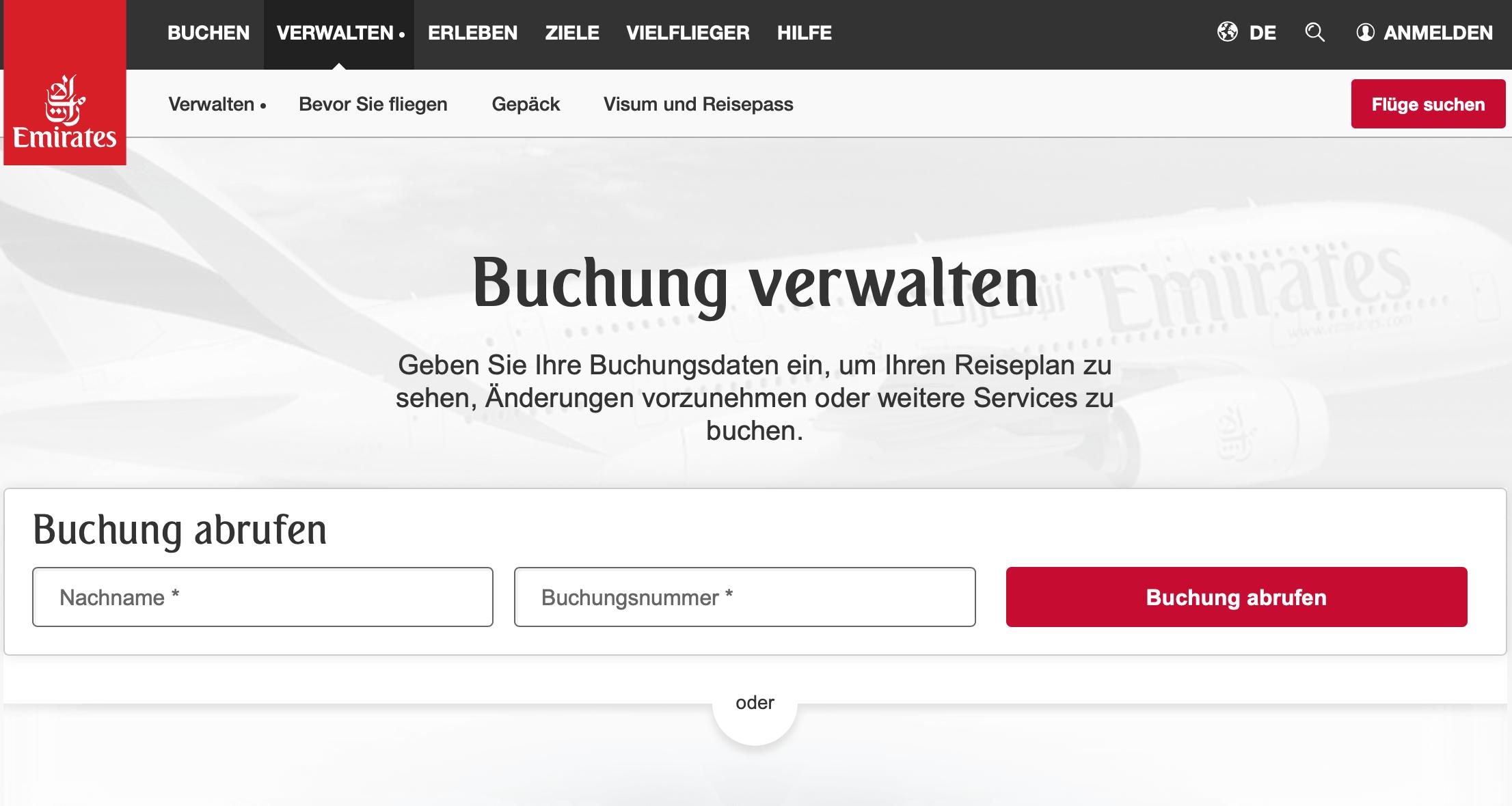Emirates Rail & Fly Buchen - Buchung Verwalten