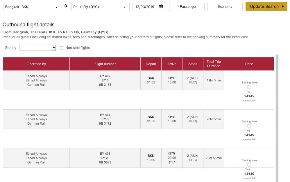 Etihad Rail & Fly Zielauswahl Flugbuchung