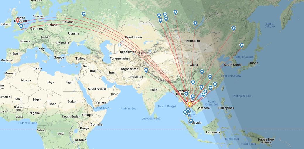 Flugstrecken Pattaya Airport Rayong UTP