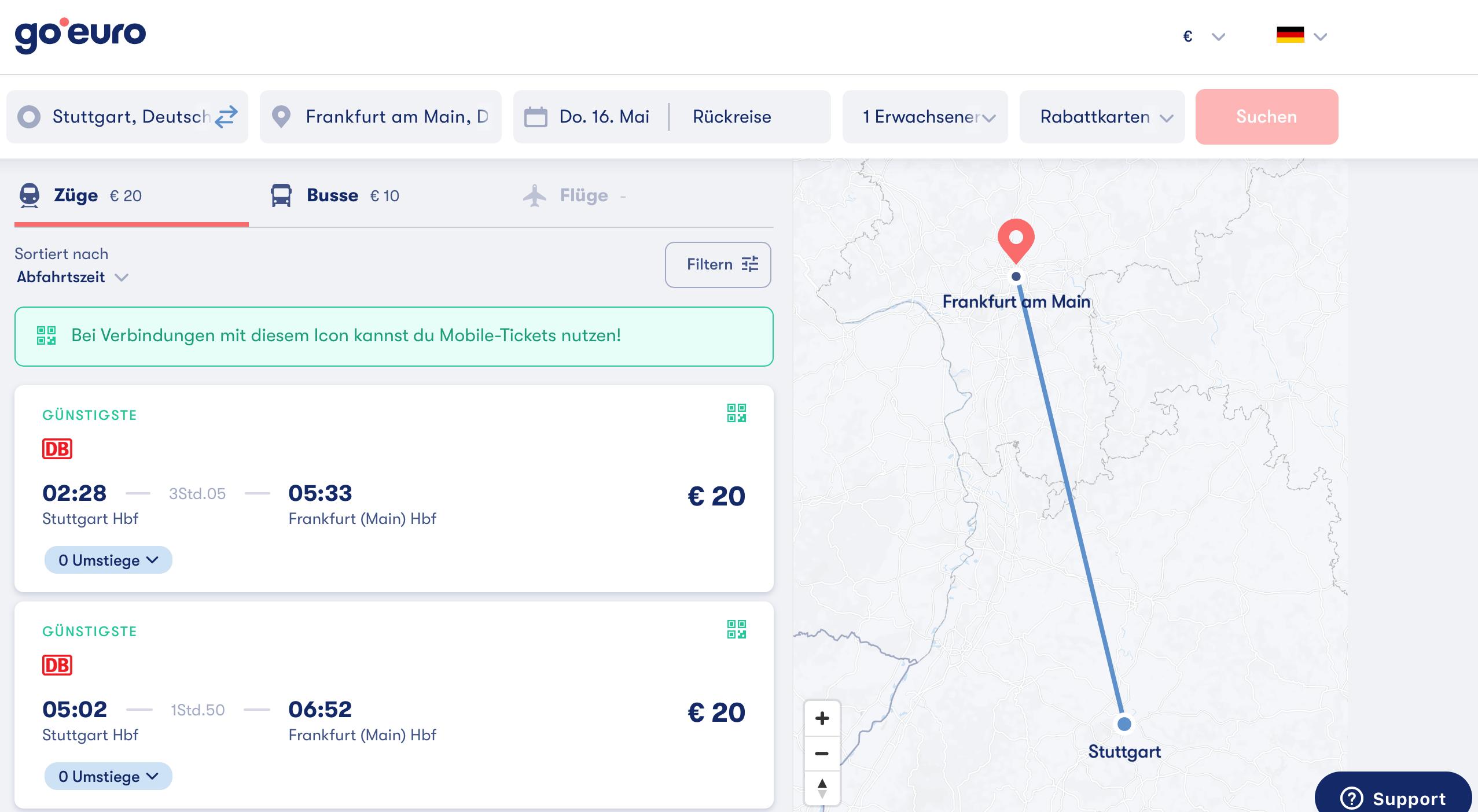 GoEuro.de Stgt Frankfurt ICE 20€