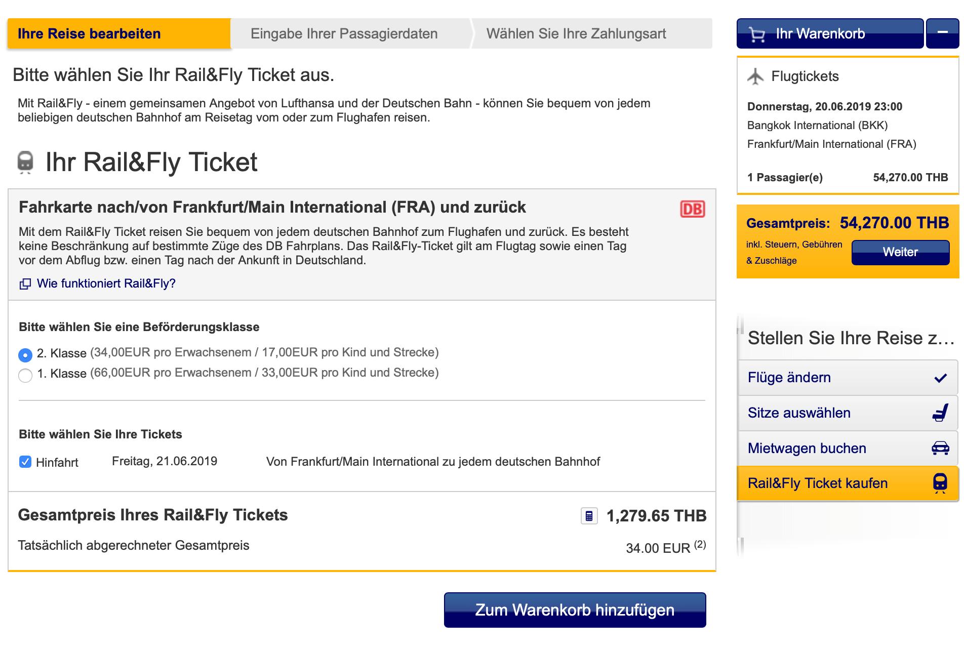Lufthansa Rail & Fly Ticket Auswahl im Buchungsprozess