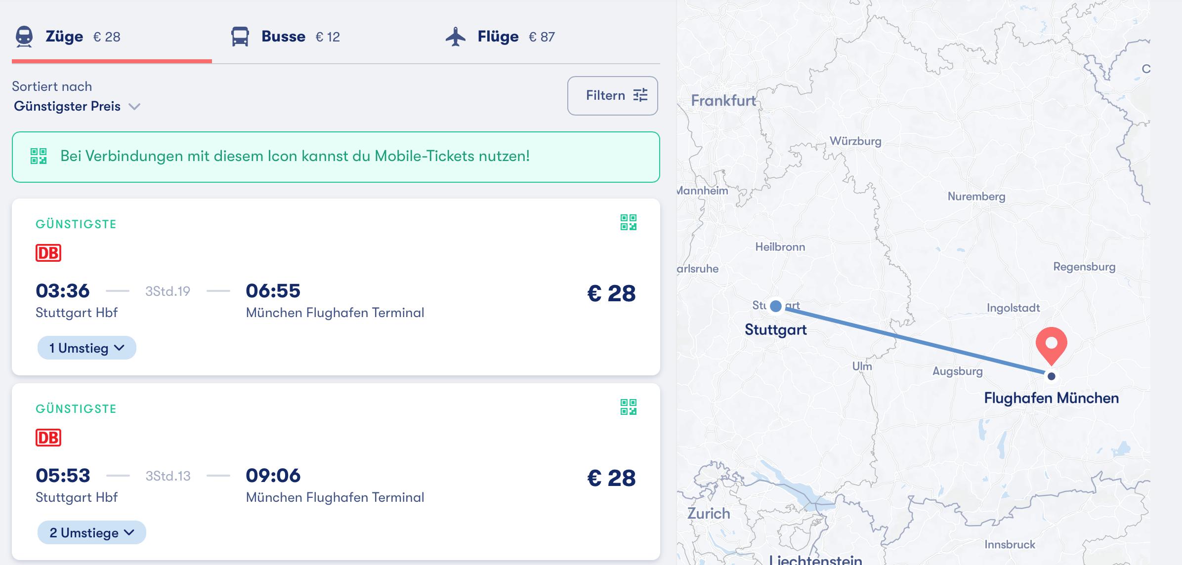 Rail & Fly Tickets separat buchen - GoEuro