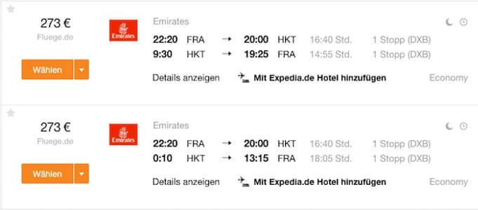 Emirates Error Fare nach Phuket