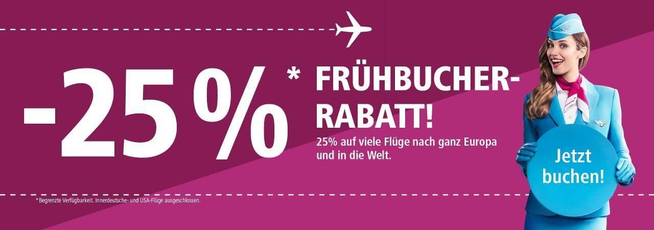 Eurowings Frühbucher Rabatt 25% 2019