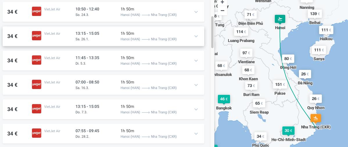 Inlandsflüge Vietnam Hanoi - Nha Trang
