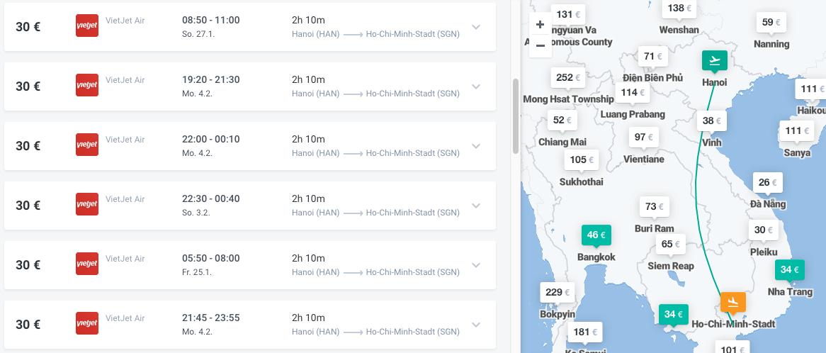 Inlandsflüge Vietnam Saigon - Hanoi
