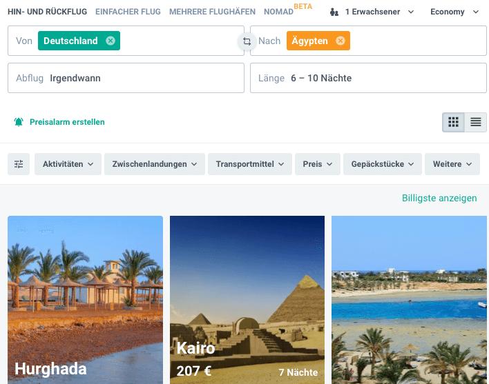 Flüge nach Ägypten flexibel buchen
