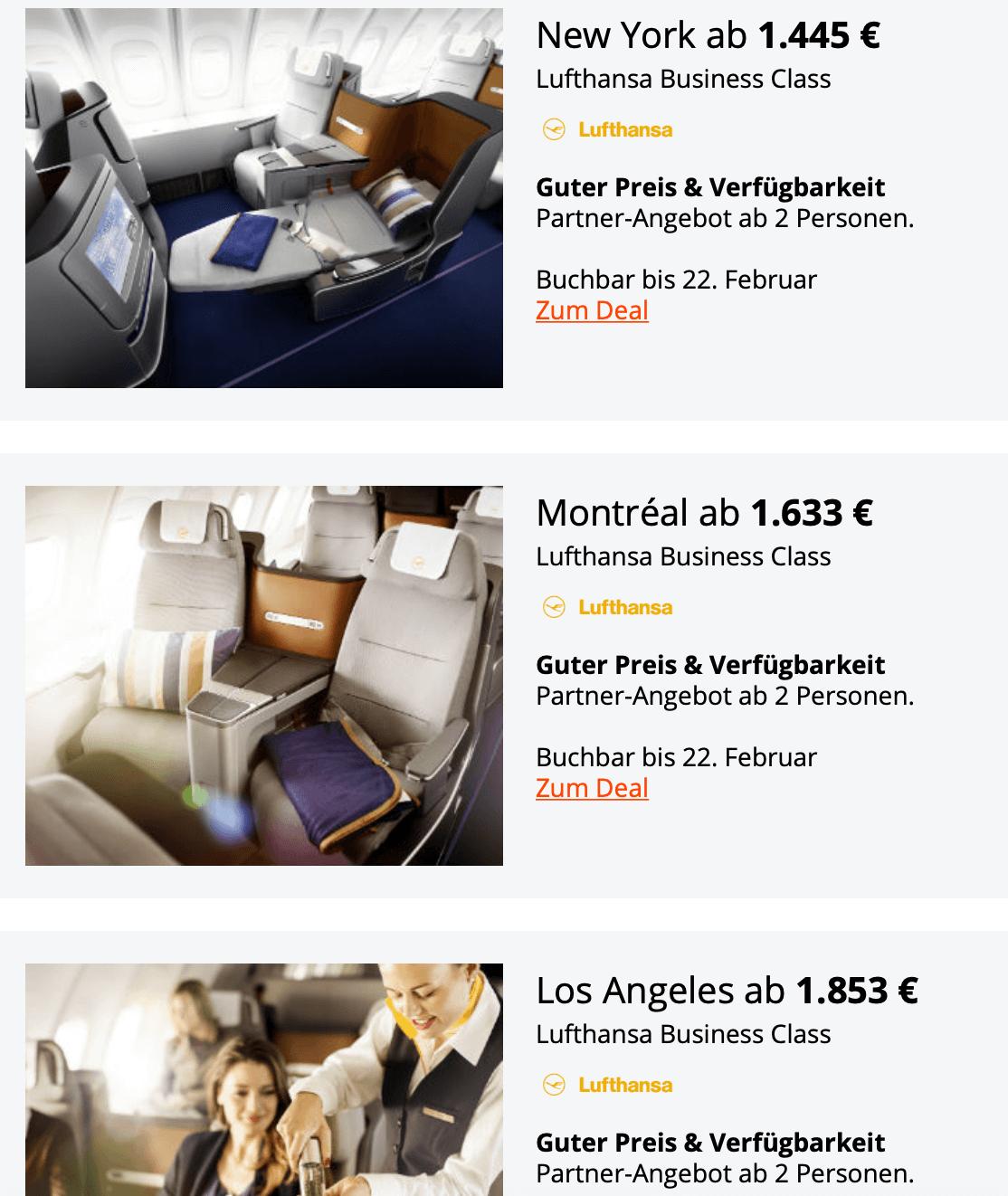 Lufthansa Business Class Partnerangebote 2019