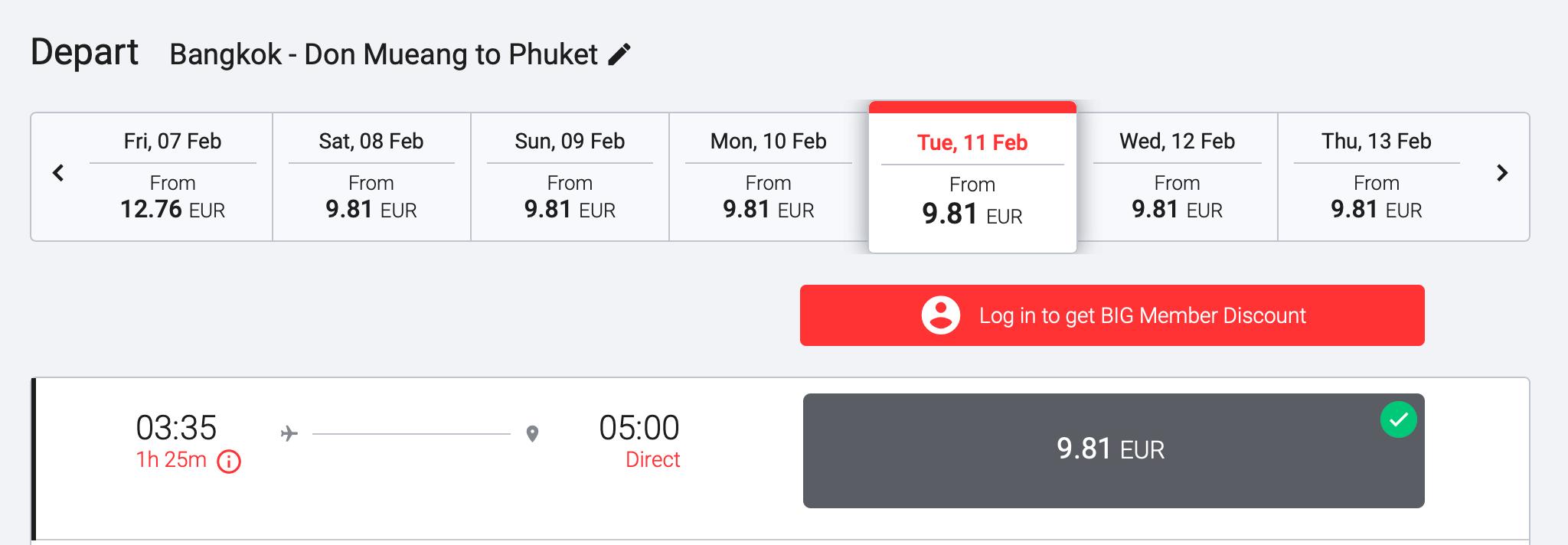 AirAsia Flugpreis Low Fare Bangkok - Phuket