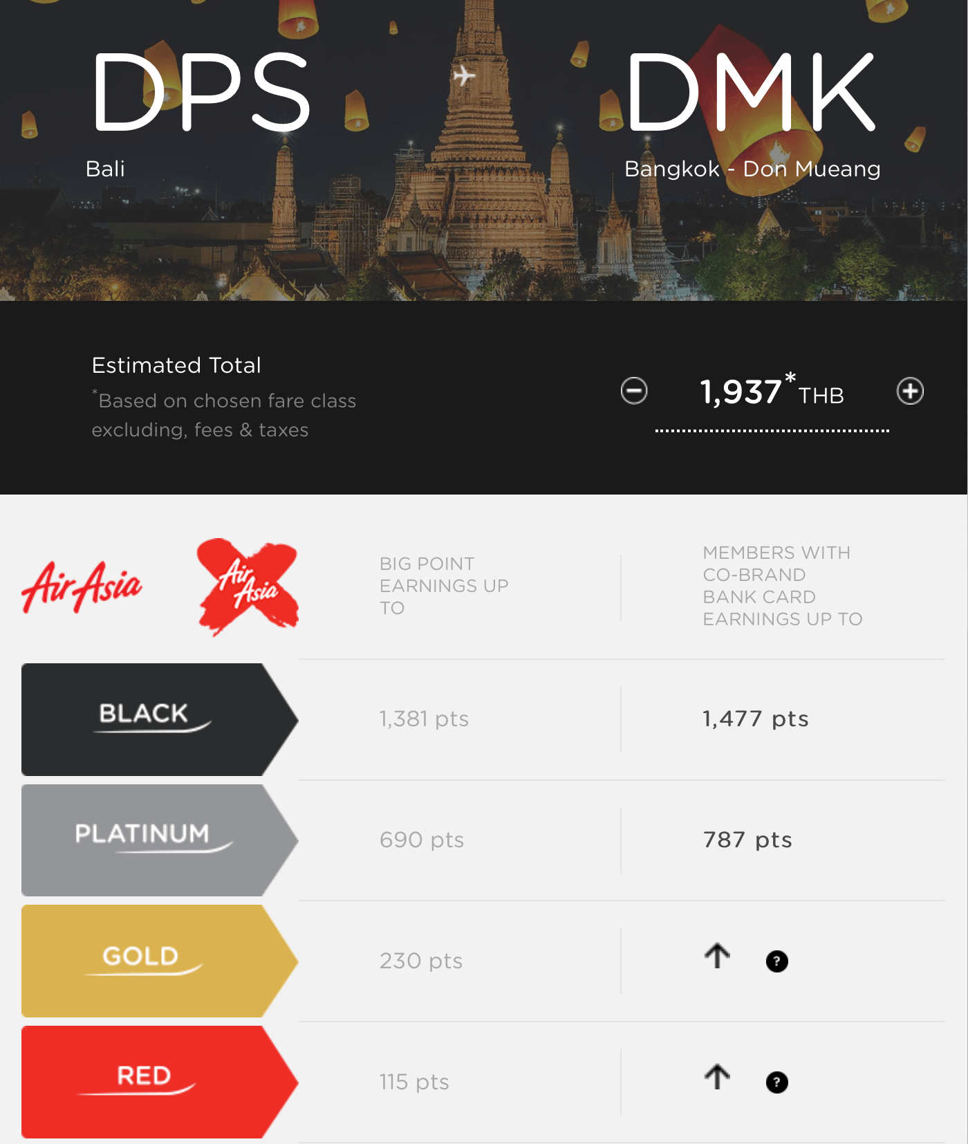 AirAsia Miles Calculator