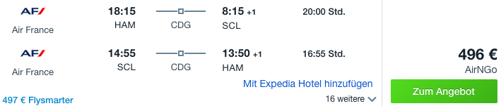 Deutschland nach Chile Angebot Air France Juni 2019