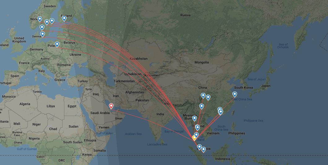 Flüge von und nach Krabi - Map