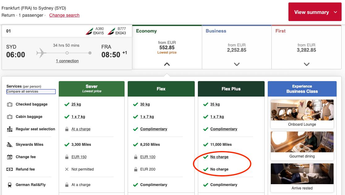 Flex Ticket Buchen - Beispiel Emirates