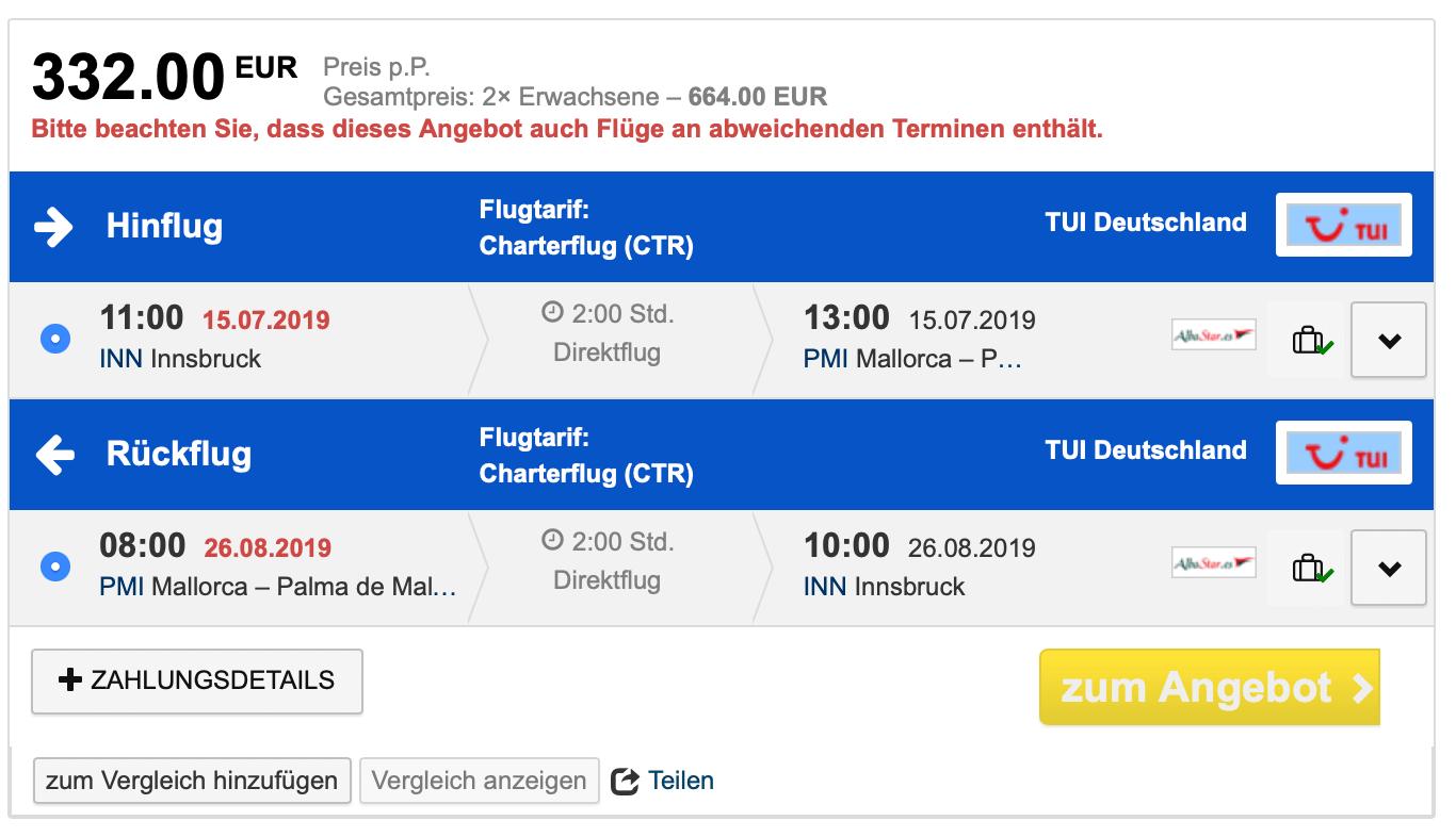 Innsbruck Mallorca Direktflüge